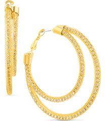 steve madden gold-tone large pave mesh double-row hoop earrings, 2.36""