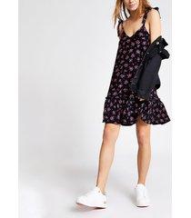 river island womens black floral peplum hem mini dress