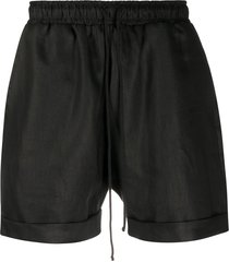 alchemy straight-leg cotton shorts - black