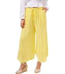 1.state drawstring wide leg pants, size large in citrus yellow at nordstrom