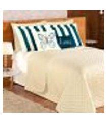 kit cobre leito avelã dupla face casal padrão 9 peças com almofada decorativa
