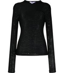 no ka' oi perforated logo-print compression hoodie - black