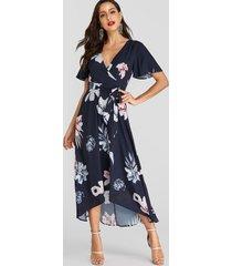 estampado floral al azar azul marino cinturón diseño manga corta con cuello en v vestido