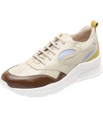 tenis dad sneakers ref 3700 off white - tabaco - amarelo - azul bebe - tricae
