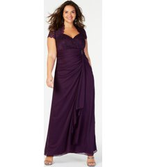 b & a by betsy & adam plus size sequined-lace ruched gown