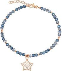 bracciale stella in argento 925 dorato rosé, zirconi e cristalli per donna