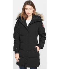 women's canada goose shelburne genuine coyote fur trim down parka, size xx-small - black