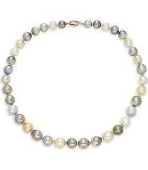 14k two-tone gold, 12-9mm multicolored south sea & tahitian pearl necklace/18""