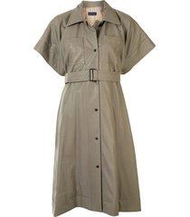 eudon choi belted-waist shirt dress - grey