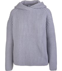 fedeli woman hooded sweater in dust grey ribbed cashmere