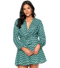 vestido lez a lez curto estampado verde/azul/preto - kanui