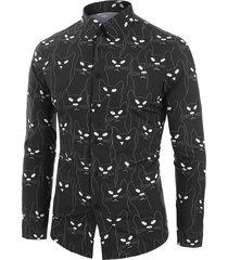 novelty cat pattern long sleeves shirt