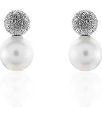 orecchini in argento 925 rodiato e perle per donna