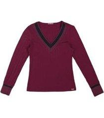 blusa cativa canelado decote v feminina - feminino