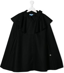 lanvin enfant teen ruffle flared cape coat - blue