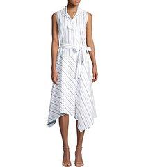 dandy striped sleeveless shirt dress