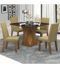 mesa de jantar 4 lugares frevo com vidro preto 11555 seda/neve - mobilarte móveis
