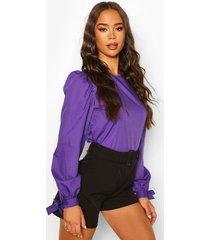 tie sleeve cotton mix top, purple
