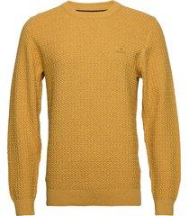 d1. cotton texture crew stickad tröja m. rund krage gul gant