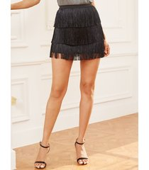 falda de cintura elástica con flecos diseño en niveles negros