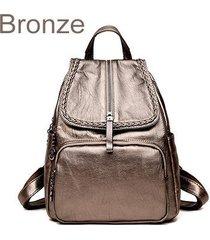 mochilas/ tejido de cuero de la pu mochila mujeres-marrón