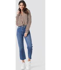 na-kd trend raw hem straight jeans - blue