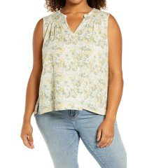 caslon(r) gathered a-line tank, size 2x in yellow- ivory floral camo at nordstrom