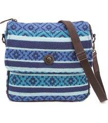 "eliza journey crossbody bag 11""x 2.5"" x11"", lined,back zip pocket woven jacquard"