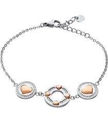bracciale in acciaio e cristalli con cuori oro rosa per donna