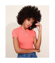 blusa feminina canelada com zíper de argola manga curta gola alta laranja