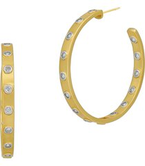 freida rothman brooklyn coast glistening inlay hoop earrings. in silver/gold at nordstrom