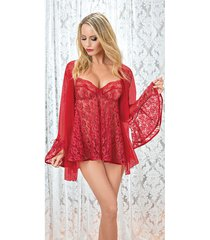 escante red lace babydoll with matching coat lingerie set s-3x