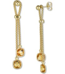 amethyst drop earrings (3-1/5 ct. t.w.) in 14k rose gold-plated sterling silver (also in citrine)