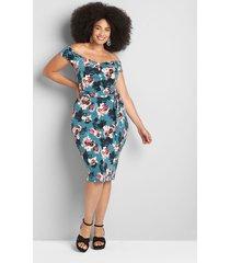 lane bryant women's off-the-shoulder bodycon dress 26/28 blue floral