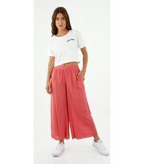 pantalón de mujer, silueta tipo culotte tiro alto, color naranja
