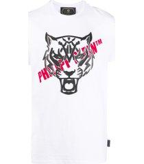 philipp plein tiger head logo t-shirt - white