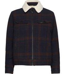 wool check sherpa jk ulljacka jacka brun lee jeans