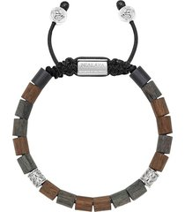 nialaya jewelry adjustable wood beaded bracelet - brown
