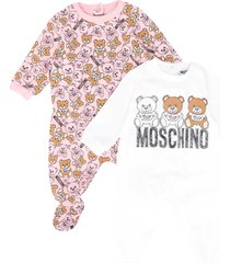 moschino two rompers set with toy press
