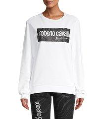 roberto cavalli women's logo graphic sweatshirt - white - size s