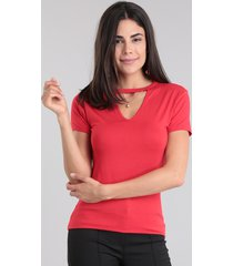 blusa básica choker vermelha