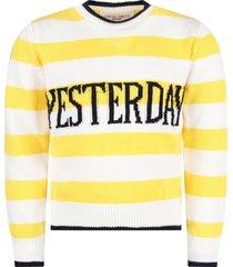 alberta ferretti yellow and white girl sweater with blue yesterday writing