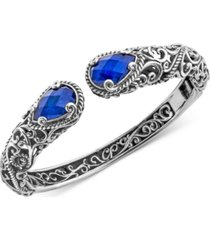 lapis lazuli doublet filigree bangle bracelet (12 ct. t.w.) in sterling silver