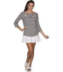 blusa via costeira listrada com bordado feminina