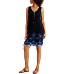 style & co petite print sleeveless swing dress, created for macy's