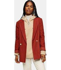 rust self stripe blazer with linen - rust