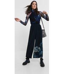 floral culotte trousers - blue - xl