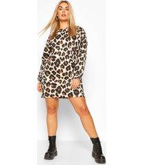 plus leopard oversized sweat dress, stone