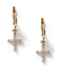 mens crystal gold cross earrings*