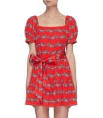 'collette' zebra print square neck puff sleeve mini dress